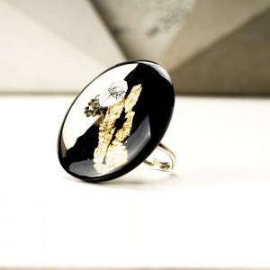 Pierścionek designerski ręcznie malowany na prezent KROLIKOVSKA