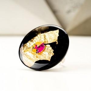Pierścionek unikalny design czarno złoty KROLIKOVSKA