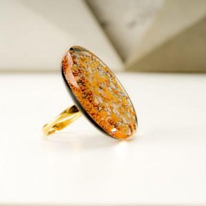 Złoty pierścionek artystyczny ręcznie malowany 1