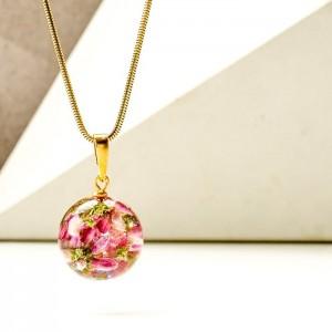 Naszyjnik z kwiatów wrzosu różowego pozłacane srebro 1