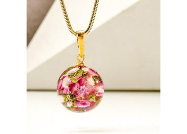 Naszyjnik z kwiatów wrzosu różowego pozłacane srebro