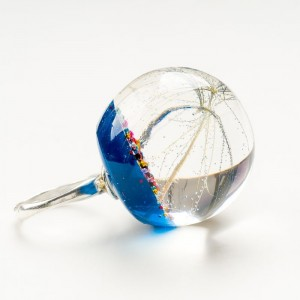 Srebrne pierścionki granatowe z dmuchawcem 1