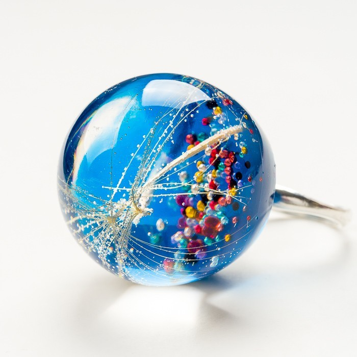 Srebrne pierścionki granatowe z dmuchawcem