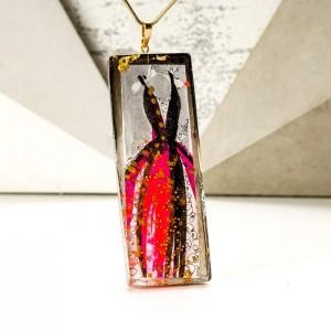 Naszyjnik z grawerem dla mamy artystyczny z ręcznie malowaną zawieszką 1