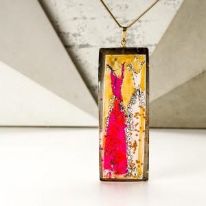 Elegancki naszyjnik ręcznie malowany ze złoto różową zawieszką  1