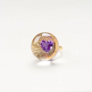 Pierścionek pozłacany z cyrkonią w kształcie serduszka 4