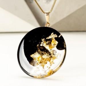 naszyjnik złoto czarny artystyczny