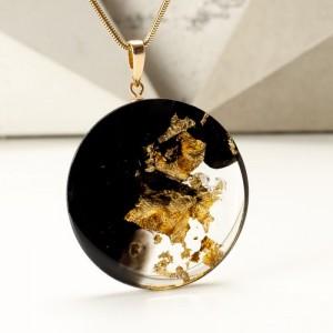 biżuteria artystyczna naszyjnik złoto czarny artystyczny