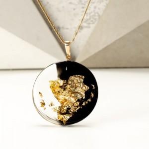 Czarno-złoty naszyjnik artystyczny