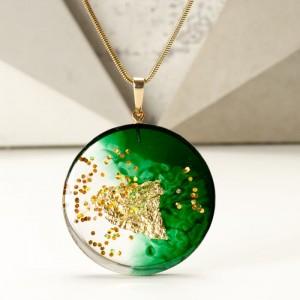 Naszyjnik zielono złoty artystyczny