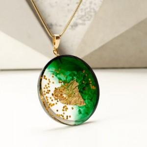 Naszyjnik zielono złoty