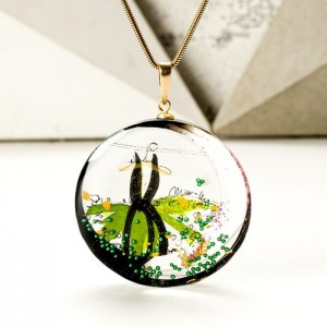 Biżuteria ręcznie robiona - naszyjnik oliwkowo czarny