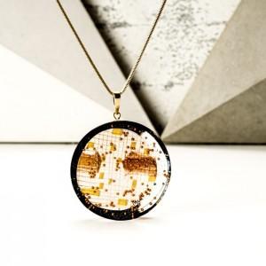 Naszyjnik miedziany na złoconym łańcuszku
