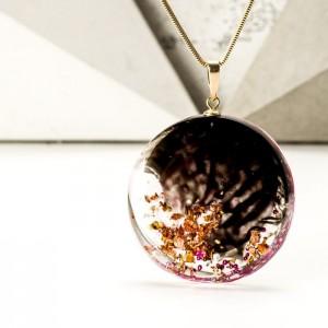 Biżuteria artystyczna naszyjnik różowo złoto czarny
