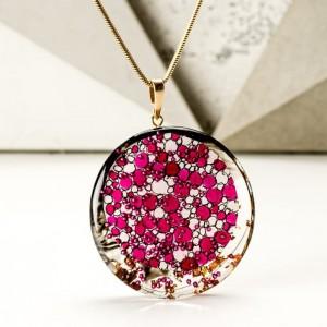 Biżuteria artystyczna naszyjnik różowy 1