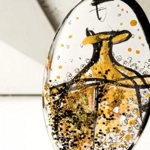 Biżuteria artystyczna - ręcznie malowany duży owalny pozłacany naszyjnik 2