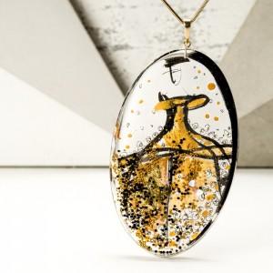 Biżuteria artystyczna - ręcznie malowany duży owalny pozłacany naszyjnik 1