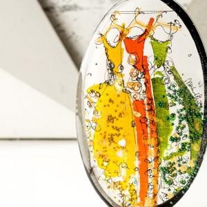 Naszyjnik z imieniem na prezent ręcznie malowany, artystyczny zielono pomarańczowy 2