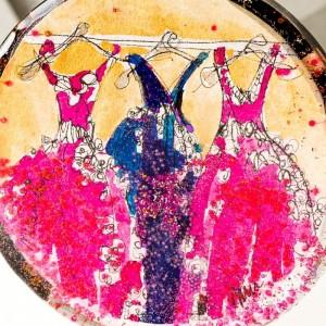 Naszyjnik duży artystyczny koło ręcznie malowany pozłacany złoto różowo granatowy do eleganckiej sukienki 2