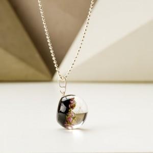 Naszyjniki ręcznie robione z wrzosem srebrny z magiczną czernią