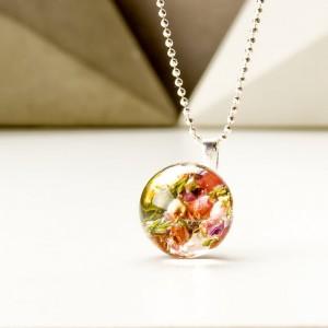 Naszyjniki damskie srebrne z wrzosem różowym w kulce