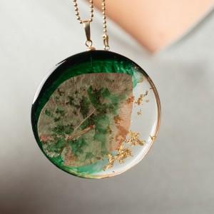 Naszyjnik artystyczny zielono złoty