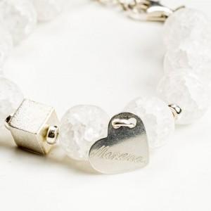 Bransoletka srebrna z kamieniami szlachetnymi.