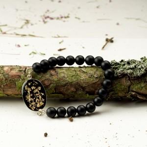 Czarno złota bransoletka męska z agatów, artystyczna, ręcznie robiona, z kamieni onyksów i żywicy 2