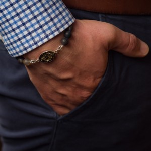 Bransoletka męska artystyczna ręcznie robiona z żywicy