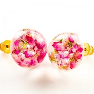 Kolczyki różowe wkrętki ręcznie robione