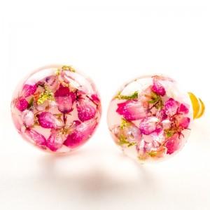 Kolczyki różowe wkrętki