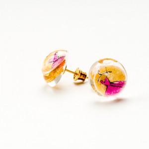 Kolczyki artystyczne wkrętki złoto różowe