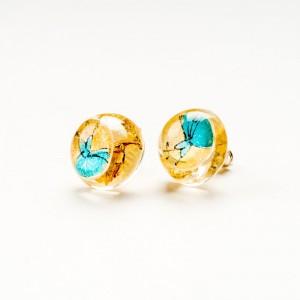 Kolczyki wkrętki złoto turkusowe ręcznie robione