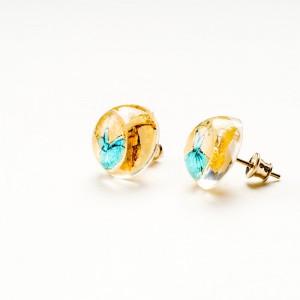 Kolczyki wkrętki złoto turkusowe artystyczne