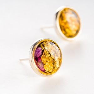 Biżuteria artystyczna Kolczyki wkrętki minimalistyczne złoto różowe