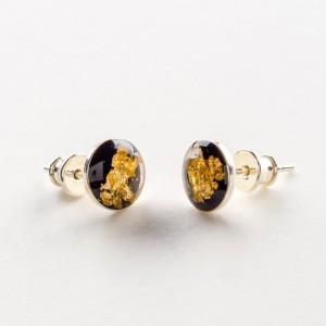 biżuteria artystyczna Kolczyki wkrętki czarno złote
