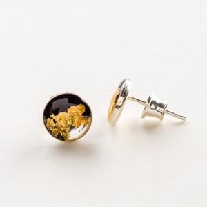 Kolczyki wkrętki czarno złote