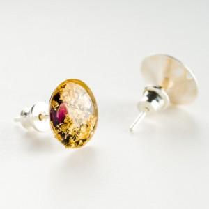 Kolczyki sztyfty złoto czarne z żywicy ręcznie robione artystyczne