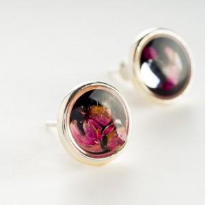 Kolczyki wkrętki czarno różowe