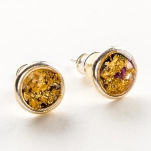 Kolczyki wkrętki czarno złoto różowe