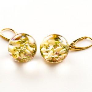 Biżuterię z charakterem, kolczyki złote z wrzosem.1
