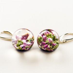 Kolczyki granatowe z kwiatami wrzosu.1