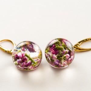 Kolczyki złote, wiszące kwiaty.