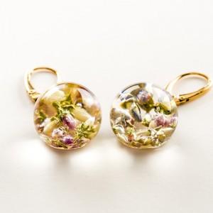 Kolczyki kwiaty wiszące, złocone srebro.