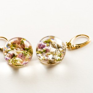 Kolczyki kwiaty wiszące, złocone srebro.1