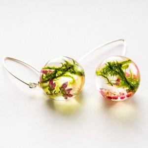 Kolczyki różowo zielone z żywicy