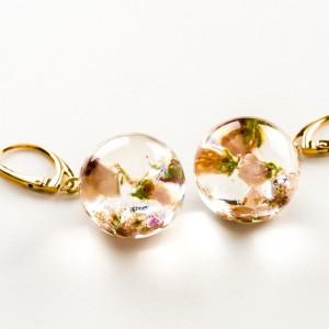 Kolczyki kwiaty różowe, złocone bigle.1