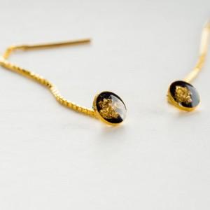 Kolczyki przewlekane, srebrne złocone.