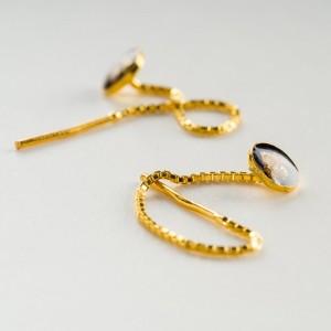 Kolczyki przewlekane, srebrne złocone.1