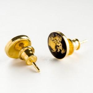 Kolczyki ręcznie robione wkrętki złoto czarne